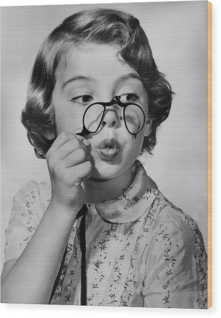 Fun With Pince-nez Wood Print by Archive Photos