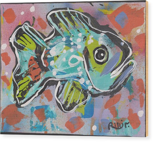 Funky Folk Fish 2012 Wood Print by Robert Wolverton Jr