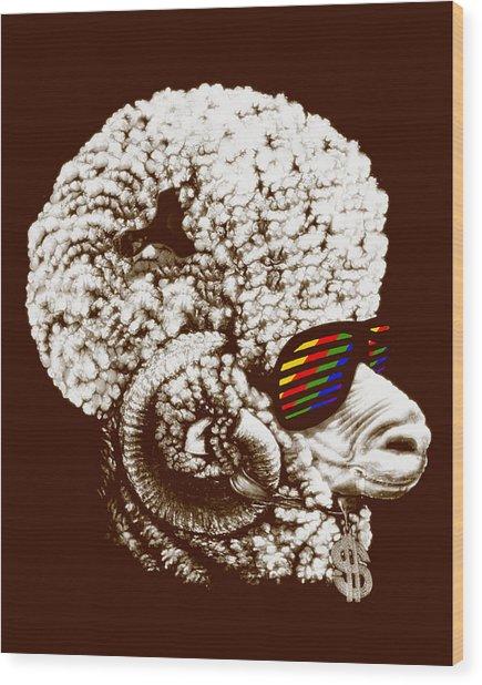 Funky Sheep Wood Print by Bojan Bundalo