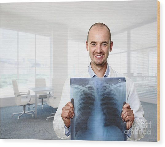 Funny Doctor Wood Print
