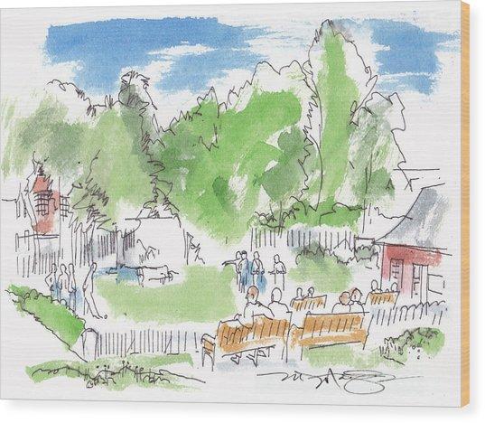 Game In An English Village Wood Print