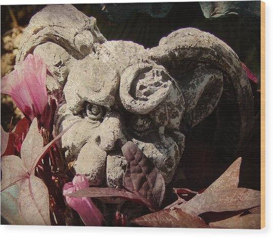 Garden Gargoyle Wood Print by Brenda Conrad