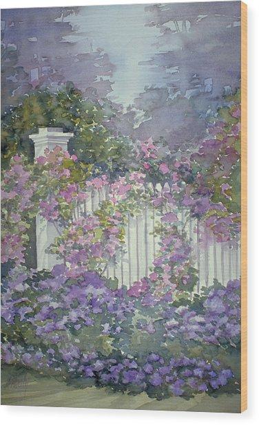 Garden Gate Roses Wood Print