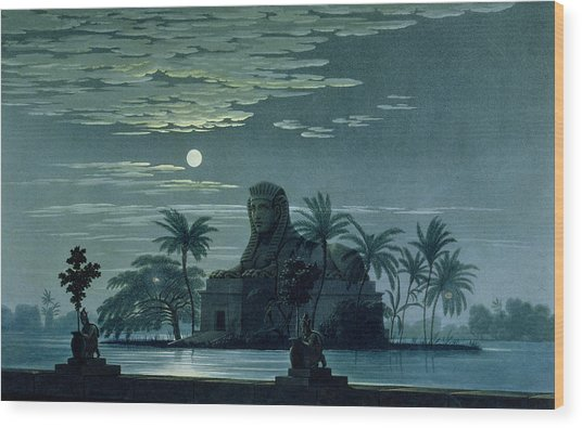 Garden Scene With The Sphinx In Moonlight Wood Print