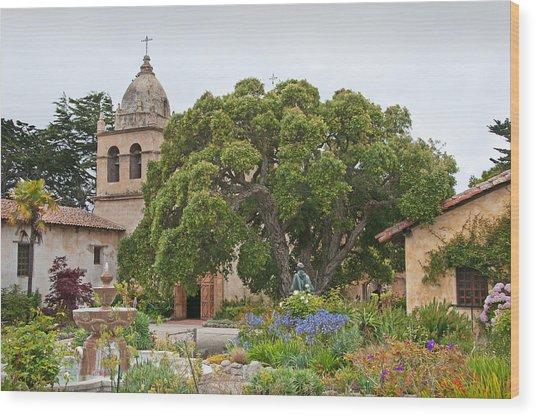 Gardens Of Carmel Mission Wood Print by Kent Sorensen