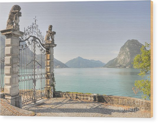 Gate On The Lake Front Wood Print