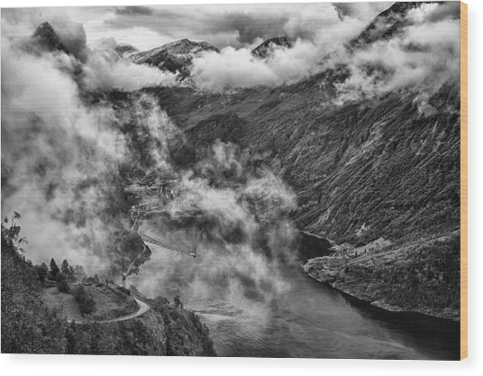Geiranger Fjord Wood Print by A A