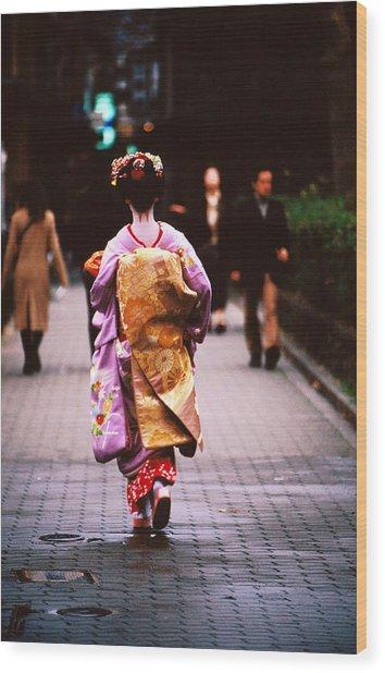 Geisha In Kimono Walking Away, Pontocho Districts, Kyoto, Japan Wood Print by Lonely Planet