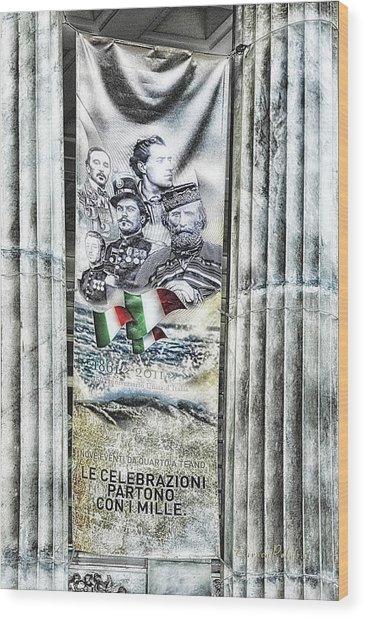 Genova 150 Years Of Italy Famous Garibaldi Mameli Founders Wood Print