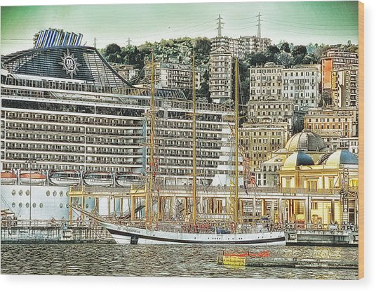 Genova Cruising And Sailing Ships And Buildings Landscape Wood Print by Enrico Pelos