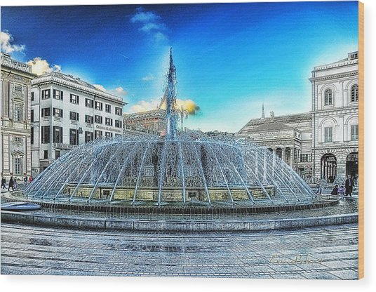 Genova De Ferrari Square Fountain And Buildings Wood Print