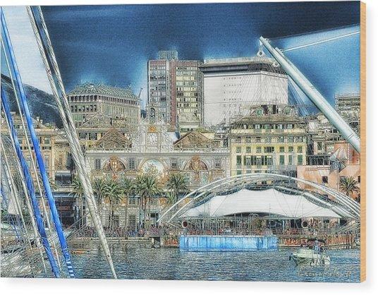 Genova Expo Area With Saint George Building Wood Print by Enrico Pelos