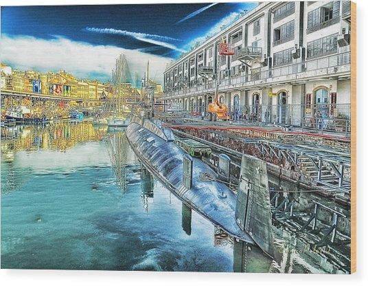 Genova Nazario Sauro Italian Navy U Boat At The Galata Sea Museum Wood Print