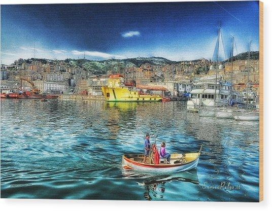 Genova Port Ships And Boats Wood Print by Enrico Pelos