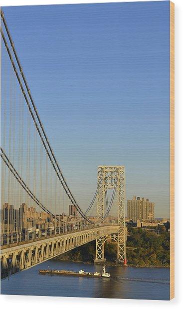 George Washington Bridge And Boat Wood Print