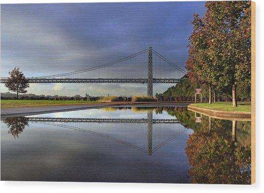 George Washington Bridge Reflections Wood Print by Dave Sribnik