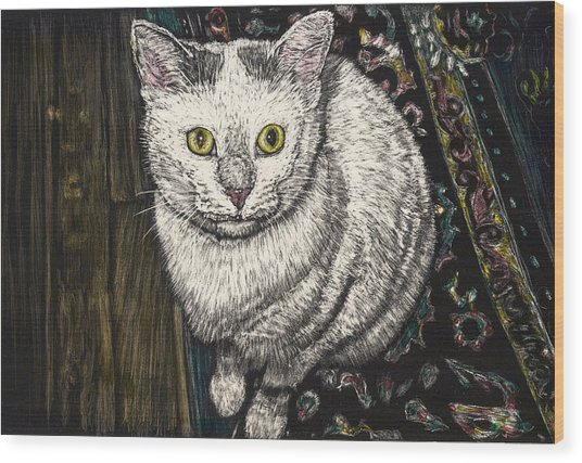 Georgie The Cat Wood Print by Robert Goudreau