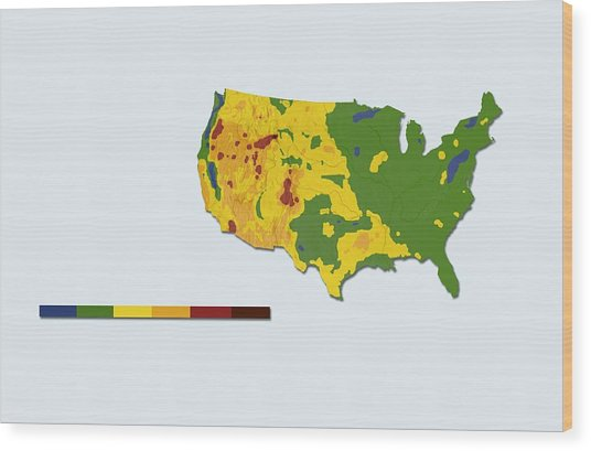 Geothermal Mapping, Usa Wood Print by Claus Lunau