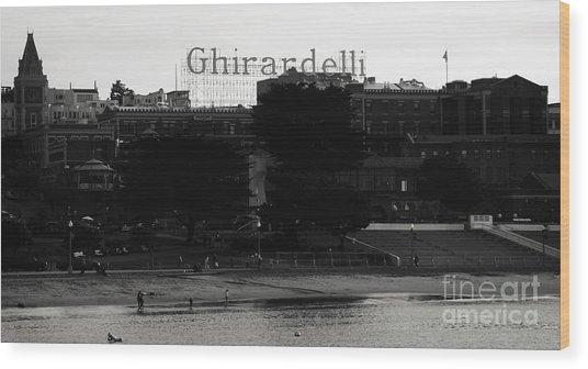 Ghirardelli Square In Black And White Wood Print