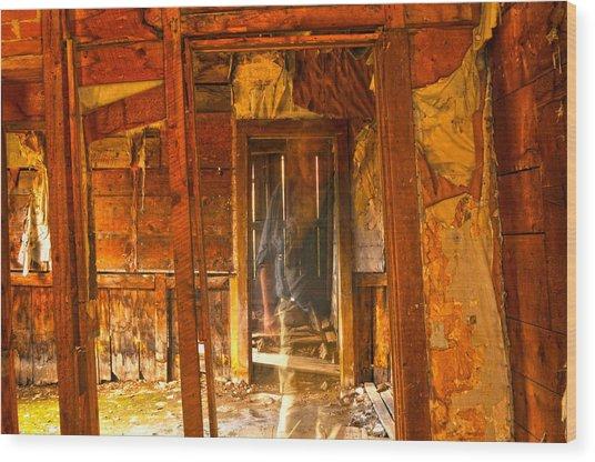 Ghost In Old Building Wood Print