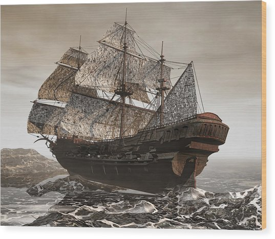 Ghost Ship Of The Cape Wood Print