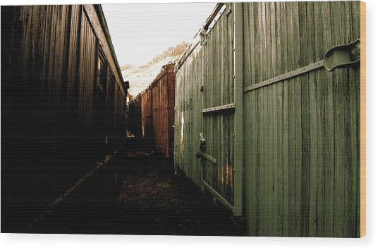 Ghost Train Yard Wood Print by Travis Burns