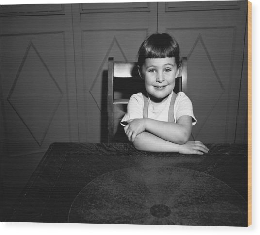 Girl (5-5) Sitting At Table, (b&w), Portrait Wood Print by George Marks