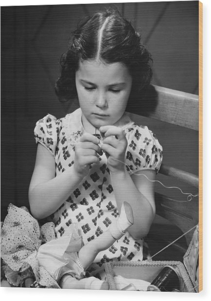 Girl (6-7) Threading Needle, (b&w) Wood Print by George Marks