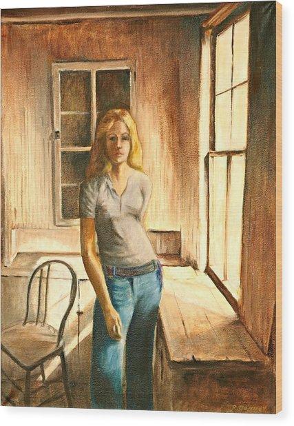 Girl At The Window Wood Print by Rita Bentley