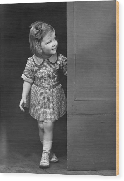 Girl Coming Outside Wood Print by George Marks