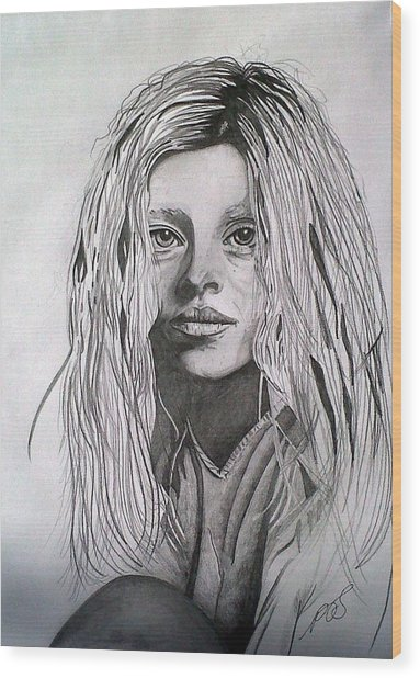 Girl I Wood Print by Paula Steffensen