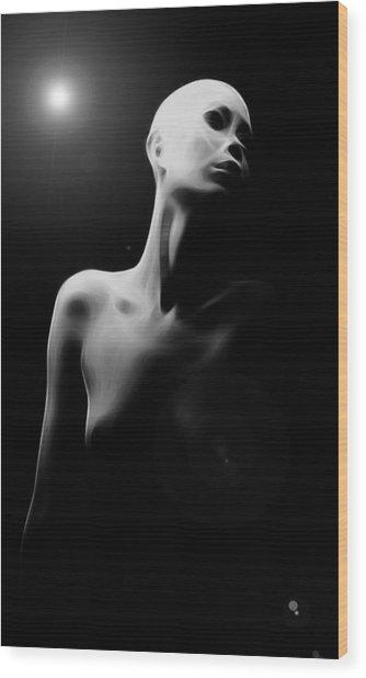 Girl In The Moon Wood Print