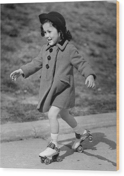 Girl Roller-skating Wood Print by George Marks
