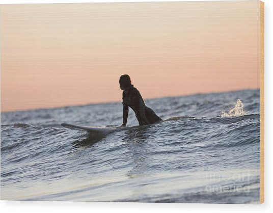 Girl Surfer Catching A Wave In Lake Michigan Wood Print