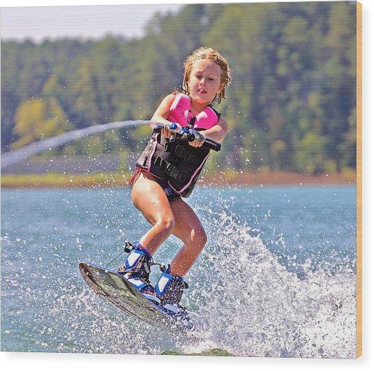 Girl Trick Skiing Wood Print