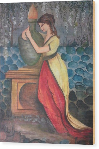 Girl With Fire Wood Print by Muhammed Mudassir
