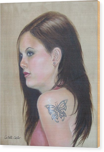 Girl With The Butterfly Tattoo Wood Print by JoAnne Castelli-Castor