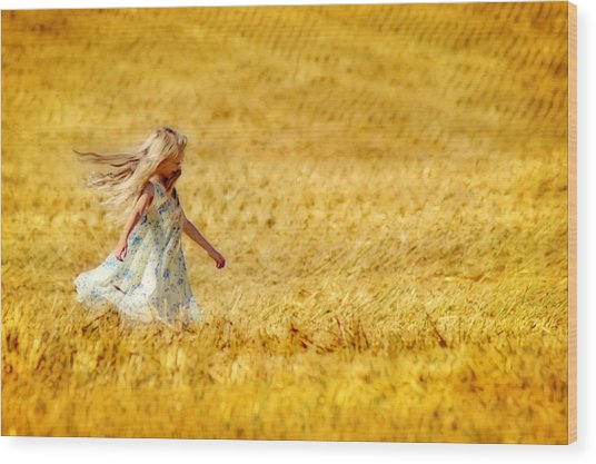 Girl With The Golden Locks Wood Print