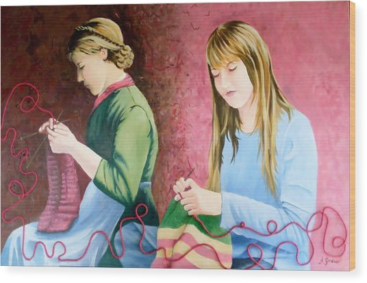 Girls Knitting Wood Print