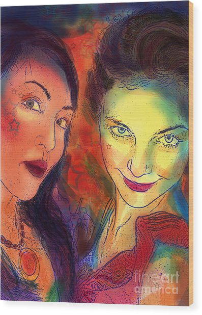 Wood Print featuring the digital art Ladies Night by Angelique Bowman