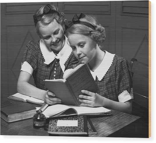 Girls Studying Tegether Wood Print by George Marks