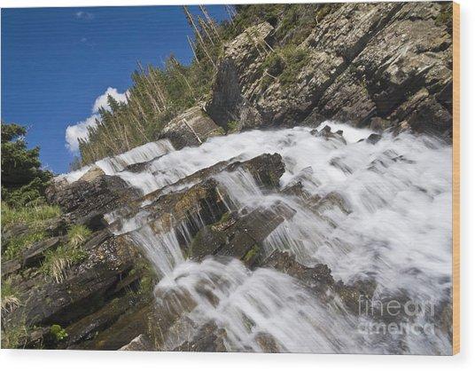 Glacier Falls Wood Print by Scotts Scapes