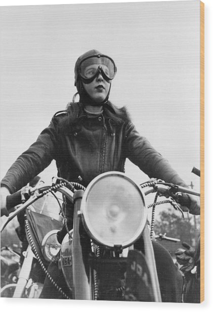 Glamorous Biker Wood Print by Keystone Features