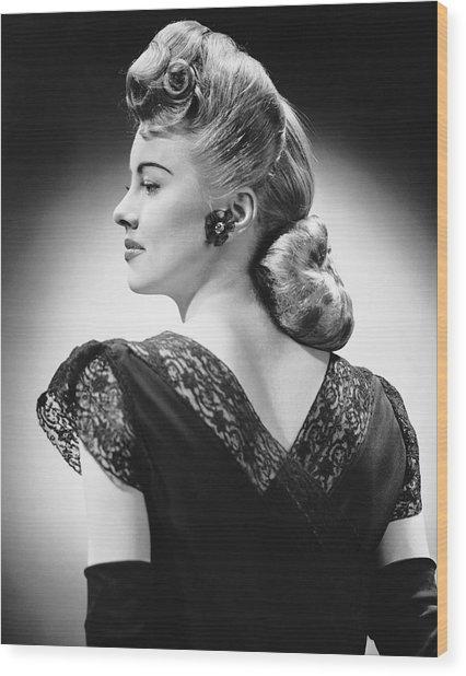 Glamorous Woman Posing Wood Print by George Marks