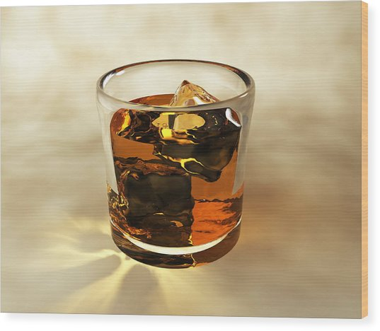 Glass Of Whiskey, Computer Artwork Wood Print by Christian Darkin