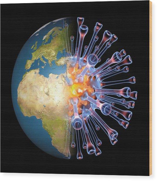 Global Flu Pandemic, Artwork Wood Print by Pasieka