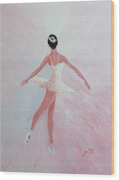 Glowing Ballerina Original Palette Knife  Wood Print