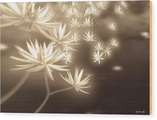 Glowing Flower Fractals Wood Print