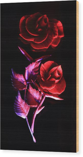 Glowing Glass Rose Wood Print