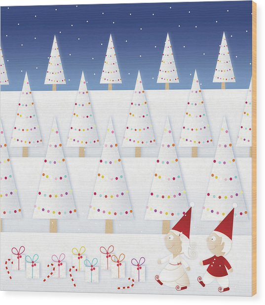 Gnomes - December Wood Print